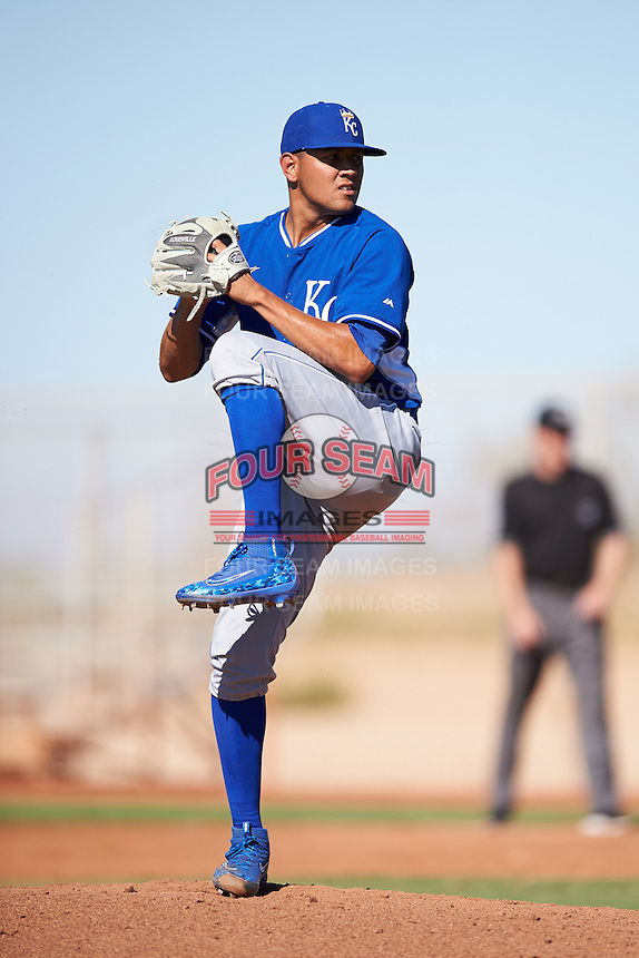 Kansas City Royals pitcher Julio Pinto (33) during an Instructional League game against the Cleveland Indians on October 11, 2016 at the Cleveland Indians Player Development Complex in Goodyear, Arizona.  (Mike Janes/Four Seam Images)