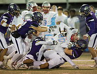 NWA Democrat-Gazette/CHARLIE KAIJO Fayetteville High School defenders tackle Southside High School wide receiver Mason Love (80) during a playoff football game on Friday, November 10, 2017 at Fayetteville High School in Fayetteville.
