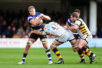 Tom Ellis of Bath Rugby is tackled by Matt Symons of Wasps. Aviva Premiership match, between Bath Rugby and Wasps on March 4, 2017 at the Recreation Ground in Bath, England. Photo by: Patrick Khachfe / Onside Images