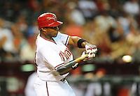 Jul. 8, 2010; Phoenix, AZ, USA; Arizona Diamondbacks outfielder Justin Upton against the Florida Marlins at Chase Field. Mandatory Credit: Mark J. Rebilas-.