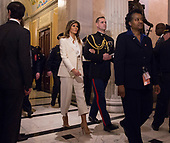 30 January 2018- Washington DC- U.S. First Lady Melania Trump departs The Capitol at the conclusion of President Donald J. Trump's State of the Union Address. Photo Credit: Chris Kleponis/Sipa USAFirst lady Melania Trump departs the United States Capitol in Washington, DC at the conclusion of US President Donald J. Trump's State of the Union Address on January 30, 2018. <br /> Credit: Chris Kleponis / Pool via CNP