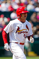 Aaron Luna (10) of the Springfield Cardinals hurries to first base after being walked during a game against the Frisco RoughRiders on April 16, 2011 at Hammons Field in Springfield, Missouri.  Photo By David Welker/Four Seam Images