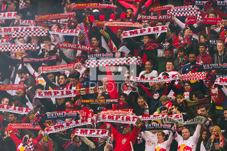 New York Red Bulls fans. The New York Red Bulls and D. C. United played to a 0-0 tie during a Major League Soccer (MLS) match at Red Bull Arena in Harrison, NJ, on March 16, 2013.