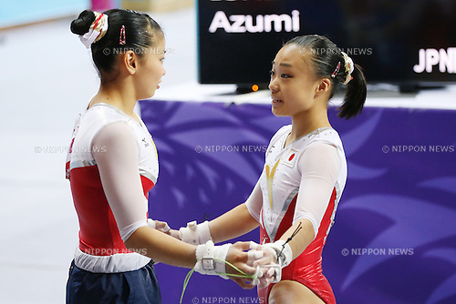 (L to R) Yuriko Yamamoto, Azumi Ishikura (JPN), <br /> SEPTEMBER 22, 2014 - Artistic Gymnastics : <br /> Women's Team Final <br /> Uneven Bars <br /> at Namdong Gymnasium <br /> during the 2014 Incheon Asian Games in Incheon, South Korea. <br /> (Photo by AFLO SPORT) [1180]