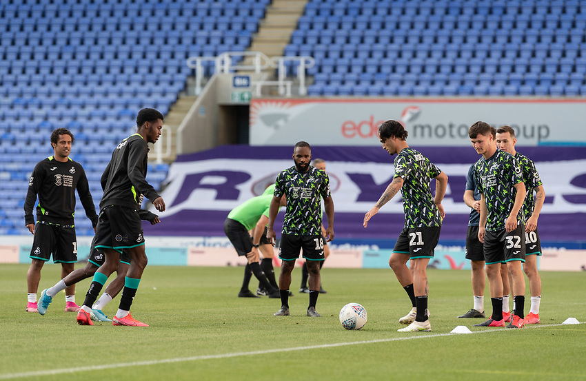 Swansea City players during the pre-match warm-up <br /> <br /> Photographer David Horton/CameraSport<br /> <br /> The EFL Sky Bet Championship - Reading v Swansea City - Wednesday July 22nd 2020 - Madejski Stadium - Reading <br /> <br /> World Copyright © 2020 CameraSport. All rights reserved. 43 Linden Ave. Countesthorpe. Leicester. England. LE8 5PG - Tel: +44 (0) 116 277 4147 - admin@camerasport.com - www.camerasport.com