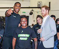 12 June 2019 - Prince Harry Duke of Sussex with Anthony Joshua and Nicola Adams at the launch of Made by Sport, a new campaign bringing together a coalition of charities supporting disadvantaged young people through sport, at Black Prince Trust in London. Photo Credit: ALPR/AdMedia