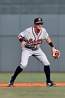 Shortstop Marcus Mooney (2) of the Rome Braves plays defense in a game against the Columbia Fireflies on Sunday, July 2, 2017, at Spirit Communications Park in Columbia, South Carolina. Columbia won, 3-2. (Tom Priddy/Four Seam Images)