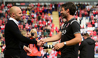 Rotherham United manager Paul Warne, left, and Lincoln City manager Danny Cowley prior to the game<br /> <br /> Photographer Chris Vaughan/CameraSport<br /> <br /> The EFL Sky Bet Championship - Rotherham United v Lincoln City - Saturday 10th August 2019 - New York Stadium - Rotherham<br /> <br /> World Copyright © 2019 CameraSport. All rights reserved. 43 Linden Ave. Countesthorpe. Leicester. England. LE8 5PG - Tel: +44 (0) 116 277 4147 - admin@camerasport.com - www.camerasport.com