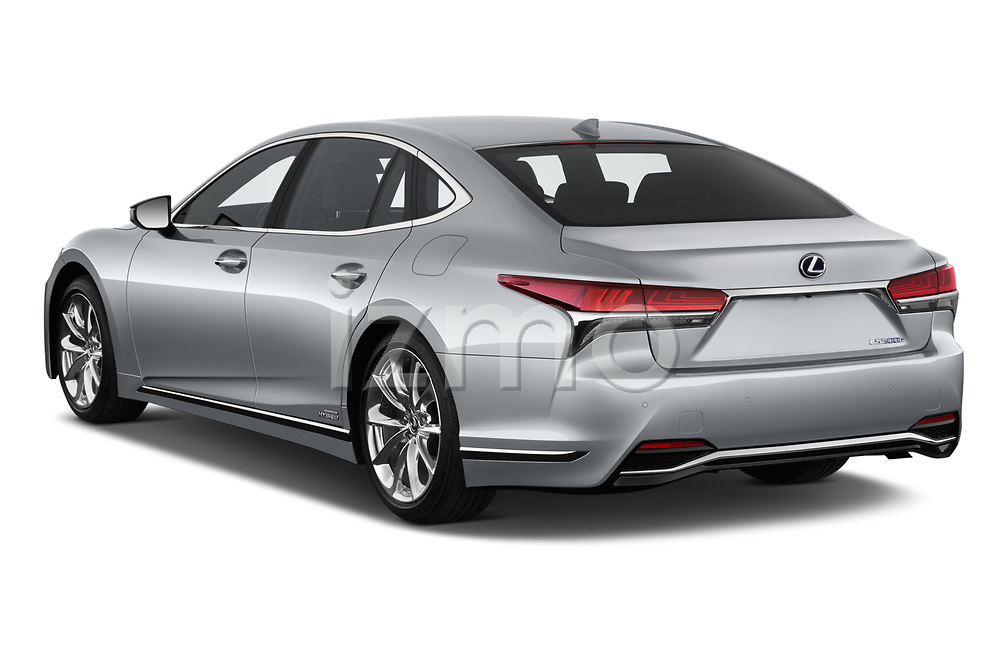 Car pictures of rear three quarter view of a 2019 Lexus LS 500h 4 Door Sedan angular rear