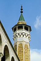 Tunis, Tunisia.  Octagonal Minaret of the Yusuf At-Taba'a Mosque.