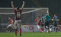 Shaun Miller (16) of Morecambe scores his goal during the Sky Bet League 2 match between Wycombe Wanderers and Morecambe at Adams Park, High Wycombe, England on 2 January 2016. Photo by Andy Rowland / PRiME Media Images