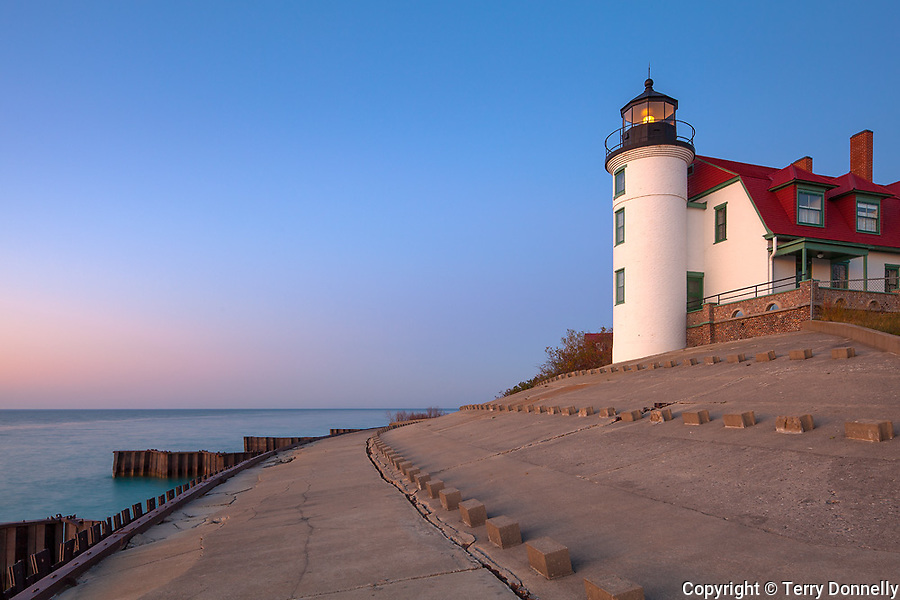 Benzie County, Michigan<br /> Point Betsie Lighthouse (1858) stands on the concrete breakwater above Lake Michigan's shore