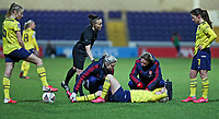 13th February 2020; Deva Stadium, Chester, Cheshire, England; Womens Super League Football, Liverpool Womens versus Arsenal Womens;  Beth Mead of Arsenal Women in distress after the tackle by Leighanne Robe of Liverpool Women and could not continue after the injury