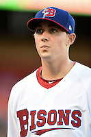 Buffalo Bisons pitcher Aaron Sanchez (24) walks off the field in between innings during a game against the Durham Bulls on July 10, 2014 at Coca-Cola Field in Buffalo, New  York.  Durham defeated Buffalo 3-2.  (Mike Janes/Four Seam Images)