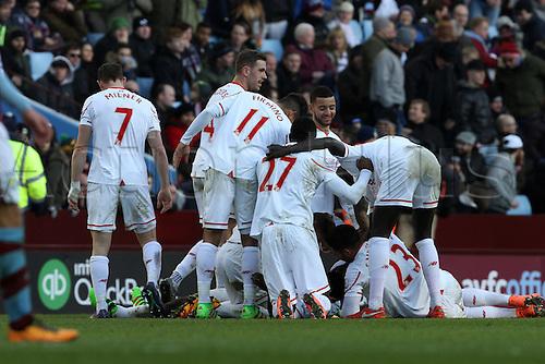 14.02.2016. Villa Park, Birmingham, England. Barclays Premier League. Aston Villa versus Liverpool.<br /> Liverpool players celebrate Kolo Toure's headed goal