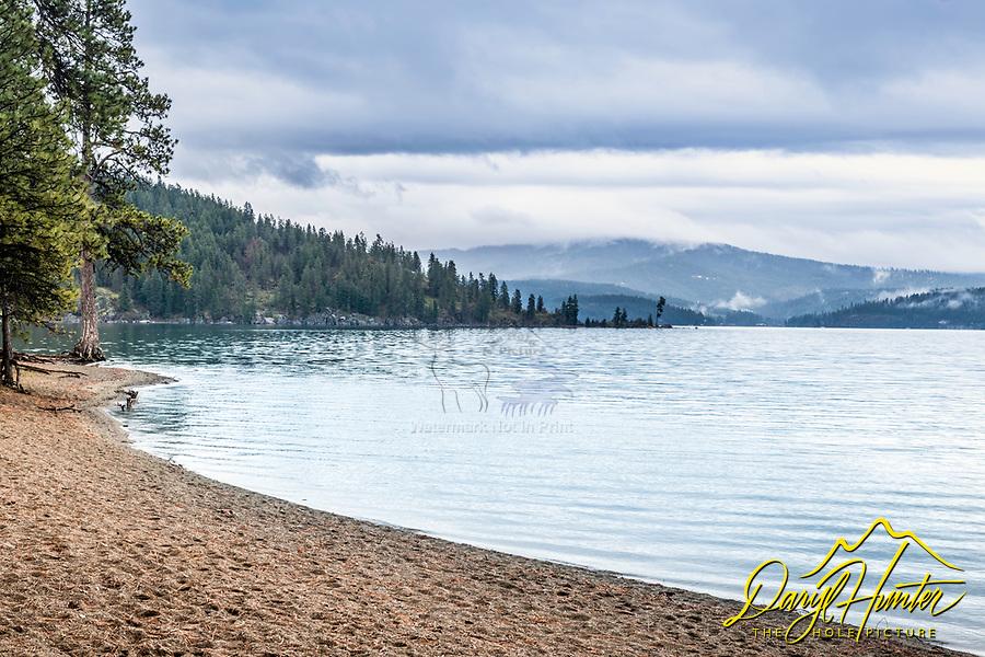 A stormy day at Coeur d'Alene Beach in Coeur d'Alene Idaho.