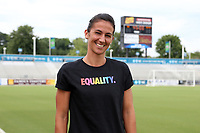 Cary, North Carolina  - Saturday June 17, 2017: Abby Erceg wears a Nike Equality BeTrue Tee before a regular season National Women's Soccer League (NWSL) match between the North Carolina Courage and the Boston Breakers at Sahlen's Stadium at WakeMed Soccer Park. The Courage won the game 3-1.