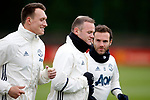 Phil Jones, Wayne Rooney and Juan Mata of Manchester United train during the Manchester United open training session at the Carrington Training Centre, Manchester. Picture date: May 19th 2017. <br /> Pic credit should read: Matt McNulty/Sportimage