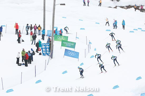 Trent Nelson  |  The Salt Lake Tribune.Team 4x5km Nordic Combined on the cross country track at the Whistler Olympic Park, XXI Olympic Winter Games in Whistler, Tuesday, February 23, 2010. forerunners
