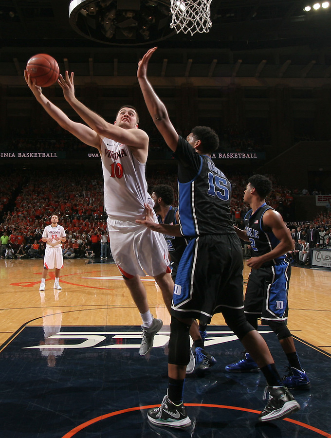 Virginia forward/center Mike Tobey (10) during an ACC basketball game Jan. 31, 2015 in Charlottesville, VA. Duke won 69-63.
