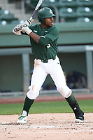 Right fielder Zaid Walker (3) of the Michigan State Spartans bats in a game against the Merrimack Warriors on Saturday, February 22, 2020, at Fluor Field at the West End in Greenville, South Carolina. Merrimack won, 7-5. (Tom Priddy/Four Seam Images)