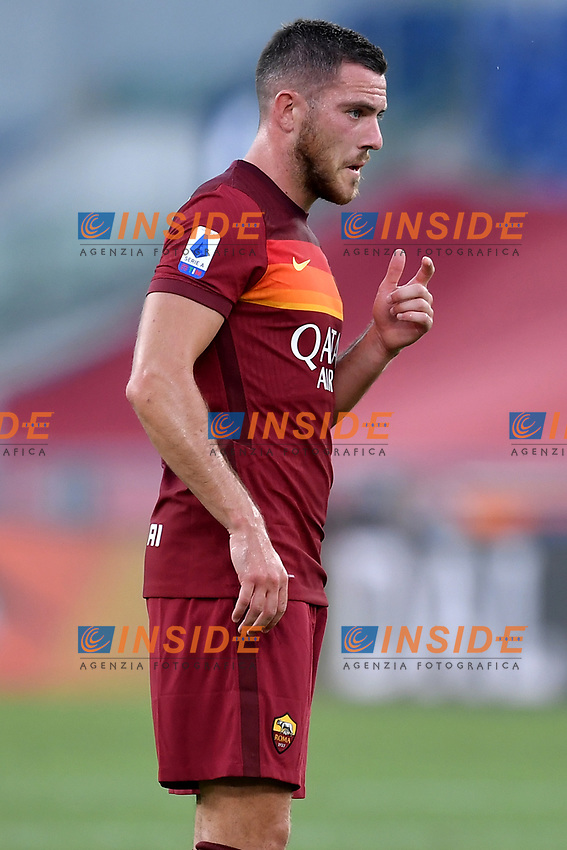 Jordan Veretout of AS Roma reacts during the Serie A football match between AS Roma and ACF Fiorentina at stadio Olimpico in Roma (Italy), July 26th, 2020. Play resumes behind closed doors following the outbreak of the coronavirus disease. <br /> Photo Antonietta Baldassarre / Insidefoto