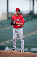 AZL Angels catcher Brett Bond (10) prepares to deliver a pitch after being called in to pitch the ninth inning during the completion of a suspended Arizona League game against the AZL Diamondbacks at Tempe Diablo Stadium on July 16, 2018 in Tempe, Arizona. The game was a continuation of the July 11, 2018 contest that was suspended by rain in the middle of the eighth inning. The AZL Diamondbacks defeated the AZL Angels 12-8. (Zachary Lucy/Four Seam Images)