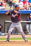 11 March 2013: Atlanta Braves catcher Christian Bethancourt in action during a Spring Training game against the Washington Nationals at Space Coast Stadium in Viera, Florida. The Braves defeated the Nationals 7-2 in Grapefruit League play. Mandatory Credit: Ed Wolfstein Photo *** RAW (NEF) Image File Available ***
