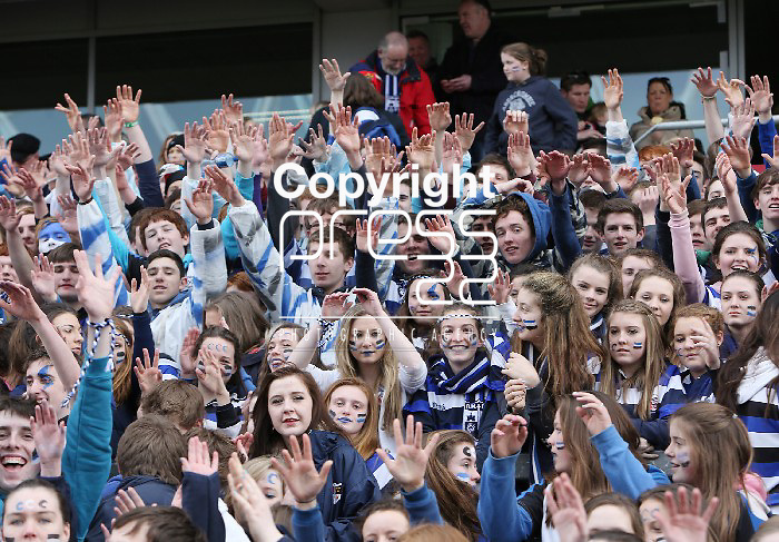 18/3/2013   Munster Rugby Schools Senior Rugby Final at Thomond Park, Limerick  between Crescent College and Rockwell College.   Crescent fans celebrate.                    Picture Liam Burke/Press 22