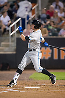 Brendan McKay (38) of the Hudson Valley Renegades follows through on his swing against the Aberdeen IronBirds at Leidos Field at Ripken Stadium on July 27, 2017 in Aberdeen, Maryland.  The IronBirds defeated the Renegades 3-0 in game two of a double-header.  (Brian Westerholt/Four Seam Images)