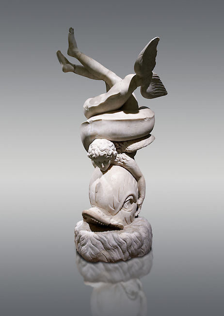 2nd century AD Roman sculpture of Eros with a dolphin, inv no 6357, The Farnese collection, Naples Museum of Archaeology, Italy