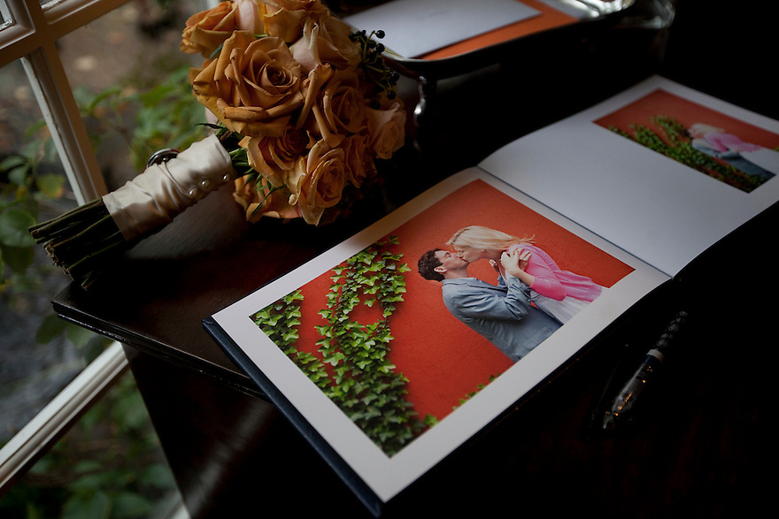 CONCORD, MA.-- October 15, 2011-- An engagement album on display at the reception, which was held at the home of the groom's parents in Concord. Victoria Bonney and Joseph Goodwin wed on October 15. CREDIT: JODI HILTON FOR THE NEW YORK TIMES