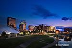 Dayton Ohio skyline photo dusk/night.