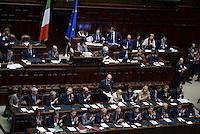 Roma, 29 Aprile 2013.Camera dei Deputati.Il Governo Letta chiede la fiducia alla Camera dei Deputati..Nella foto il discorso di Enrico Letta