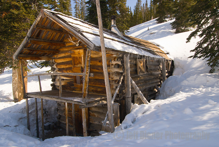 """The """"Silver Tip Lodge"""" at the historic Aneroid Lake Cabins.  Wallowa Mountains, Eagle Cap Wilderness Area, Oregon."""