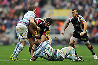 James Johnston is double-tackled. Big Game 5 Aviva Premiership match, between Harlequins and London Irish on December 29, 2012 at Twickenham Stadium in London, England. Photo by: Patrick Khachfe / Onside Images
