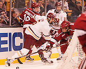 Ryan Donato (Harvard - 16), Steve Santini (BC - 6), Josh Couturier (BC - 22), Jake Horton (Harvard - 91) - The Boston College Eagles defeated the Harvard University Crimson 3-2 in the opening round of the Beanpot on Monday, February 1, 2016, at TD Garden in Boston, Massachusetts.
