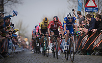 Kasper ASGREEN (DEN/Deceuninck-Quick Step) up the Oude Kwaremont<br /> <br /> 103rd Ronde van Vlaanderen 2019<br /> One day race from Antwerp to Oudenaarde (BEL/270km)<br /> <br /> ©kramon