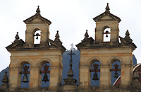BOGOTA, COLOMBIA - APRIL 12: Guadalupe church is seen behind the main Catholic Cathedral in Bogota, on April 12, 2020. Colombian Catholic authorities decided to close all churches and temples during the holy week to avoid the spread of coronavirus in the country that took more than 100 lives already. (Photo by Daniel Munoz/VIEWpress)