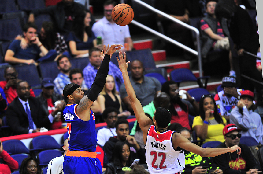 Carmelo Anthony of the Knicks shoots against Wizards Otto Porter. New York defeated Washington 115-104 during a NBA preseason game at the Verizon Center in Washington, D.C. on Friday, October 9, 2015.  Alan P. Santos/DC Sports Box