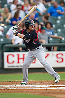 Sacramento River Cats third baseman Jake Elmore (6) at bat during the Pacific Coast League baseball game against the Round Rock Express on June 19, 2014 at the Dell Diamond in Round Rock, Texas. The Express defeated the River Cats 7-1. (Andrew Woolley/Four Seam Images)