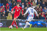 David Brooks of Wales takes on Leslie Heraldez of Panama during the International Friendly match between Wales and Panama at the Cardiff City Stadium, Cardiff, Wales on 14 November 2017. Photo by Mark Hawkins.