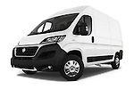 Stock pictures of low aggressive front three quarter view of 2016 Fiat Ducato MultiJet-MH2 4 Door Cargo Van Low Aggressive