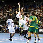 11.01.2019, Mercedes Benz Arena, Berlin, GER, BRA vs. FRA, im Bild <br /> Haniel Langaro (BRA #37), Petrus Santos (BRA #14), Jose Toledo (BRA #10),<br /> Nedim Remili (FRA #5), Luka Karabatic (FRA #22), #f20#<br /> <br />      <br /> Foto &copy; nordphoto / Engler