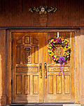 The ornately carved door leading into the tasting room at Horton Vineyards.