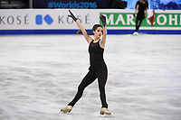 Tuesday, March 29, 2016: Sonia LaFuente of Spain skates during a practice session at the International Skating Union World Championship held at TD Garden, in Boston, Massachusetts. Eric Canha/CSM