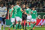 08.03.2019, Weser Stadion, Bremen, GER, 1.FBL, Werder Bremen vs FC Schalke 04, <br /> <br /> DFL REGULATIONS PROHIBIT ANY USE OF PHOTOGRAPHS AS IMAGE SEQUENCES AND/OR QUASI-VIDEO.<br /> <br />  im Bild<br /> Martin Petersen (Schiedsrichter / Referee) +Niklas Moisander (Werder Bremen #18)<br /> <br /> <br /> <br /> Foto &copy; nordphoto / Kokenge