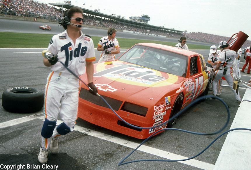 Darrell Waltrip pits pit stop Daytona 500 at Daytona International Speedway in Daytona Beach, FL on February 14, 1988. (Photo by Brian Cleary/www.bcpix.com)