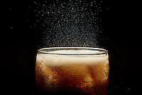 CARBONATION- CO2 BUBBLES IN GLASS OF SODA<br />