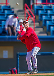 28 February 2016: Washington Nationals Bench Boach Chris Speier hits warm up drills prior to an inter-squad pre-season Spring Training game at Space Coast Stadium in Viera, Florida. Mandatory Credit: Ed Wolfstein Photo *** RAW (NEF) Image File Available ***